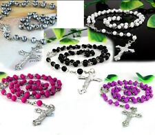 Holy Long Rosary Beads Cross In Silver Cross Tone Necklace For Women Men Girl