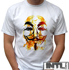 Fawkes Mask, Vendetta fire anonymous white tshirt Mens,womens,kids & baby sizes!