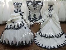 STOCK Lace Beading Decoration Black And White Ball Gown Luxury Wedding Dresses