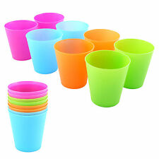 NEW PACK OF 8 SMALL PLASTIC TUMBLER DRINKING GLASSES ASSORTED COLOURS TABLEWARE
