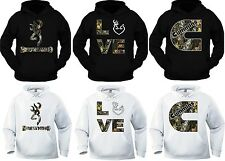 NEW BROWNING & Cummins Camo & browning love HOODIE BLACK & WHITE  PULLOVER