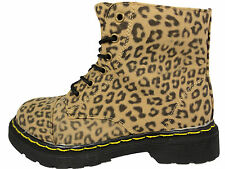 New Older Girls Leopard DM  Style Faux Leather Lace and Zip Boots 13-5 UK