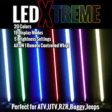 LED Lighted Whip with WIRELESS Remote - 20 Colors on 6' Whip - ATV UTV RZR Quad