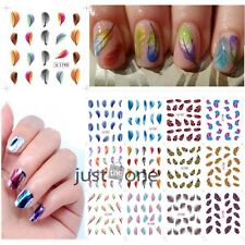 Chic Feather Design Nail Art Decor Transfer Stickers Decal Nail Tips f. Girls