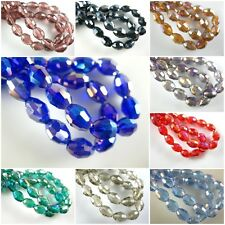 Lots 100pcs Faceted Oval Glass Crystal Rugby Beads Spacer Findings Charms 6x8mm