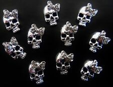 BLING 3D Alloy Metallic Nail Art Silver *Skull* Decoration with Rhinestone Bows