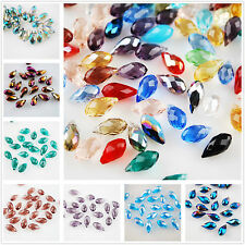 10/50pcs 12x6mm Teardrop Faceted Crystal Glass Loose Beads Pendants Findings Lot
