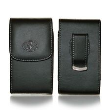 For LG Phone Black Vertical Premium Leather Pouch w/ Built-in Belt Clip