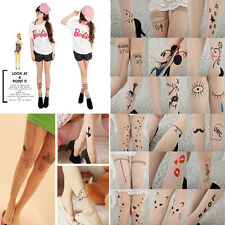 Personality Sexy Patterns Tattoo Pantyhose Bottoming Shaped Stockings Leggings
