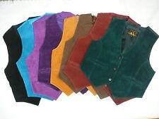 Womens Juniors Western Style Split Leather Suede Vest NWT
