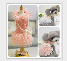 Puppy Dog Cat Clothing Pet Apparel Bowknot Winter Lace Wedding Dress W Necklace