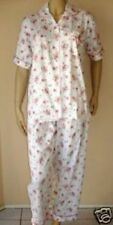 Pyjamas Ladies Short Sleeve 2pc Pjs Set (Sz 12-20) Peach Flowers Sz 12 14 16 18