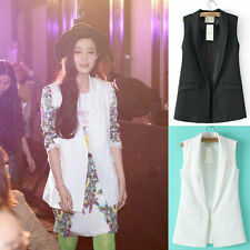 Sexy Unisex LADIES Lapel Collar Sleeveless Jacket Waistcoat Blazer Suit VEST