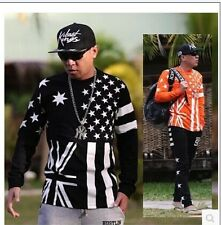 NEW graffiti hip-hop men's sleeve t-shirt clothes casual man long sleeve pentagr