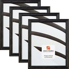 "Craig Frames Various 0.75"" Black Wood Traditional Picture Frame 4-Piece Wall Set"
