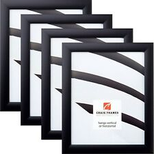 Craig Frames Contemporary, 1WB3 Black Picture Frame, 4-Pack Set