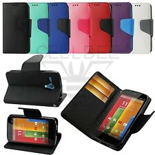 Magnetic Closure Flip Wallet Fitting Stand Case Pouch for Motorola Moto G