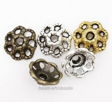 100pcs HQ- Antique Silver/Gold/Bronze Tone Flower Shaped Alloy Bead Cap 9mm