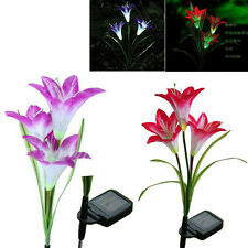 Lily Solar Powered LED Purple Red Flower Garden Path Light Lawn Lamp multicolor