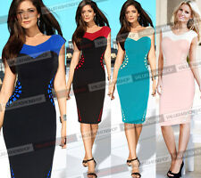 Womens Elegant Colorblock Stretch Business Wear To Work Party Pencil Dress 823