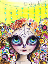 """Sugar Skull Princess"" Art Print Big Eye Girl Day of the Dead Mexican Gothic Jaz"