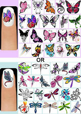 60x Butterflies OR Dragonflies Nail Art Decals + Free Gift Butterfly Dragonfly