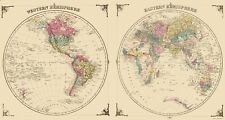 Old World Map - Western and Eastern Hemispheres - Andreas 1874 - 23 x 43.25