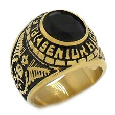 18K GP High School Graduation Genuine Stainless Steel With black CZ  Ring SR155