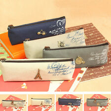 Chic Vintage Exquisite Paris Painting Pencil Case Pen Bag Zipper Cosmetic Pouch