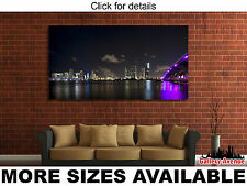 Wall Art Canvas Picture Print - Miami City Skyline at Night 2.1