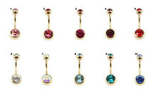 ZIRCON TITANIUM GOLD PVD DOUBLE CZ CRYSTAL BELLY BAR RING 10mm or 12mm  BAR