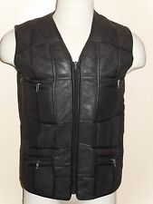 BROWN 100% REAL SHEEPSKIN LAMBSKIN SHEARLING LEATHER MEN VEST GILET JACKET M-5XL