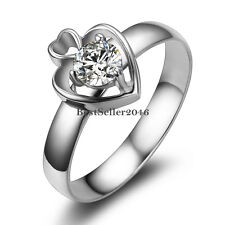 Silver Stainless Steel Solitaire Round CZ Heart Wedding Promise Engagement Ring