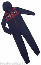 NEW M&S BOYS BLUE RED WHITE CHRISTMAS TREE STARS ALL IN ONE XMAS PYJAMAS ONESIE