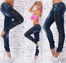Sexy Women's Slim Skinny Stretch Blue Jeans With Lace & Bowls UK 6-14
