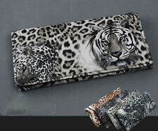 Elegant lady Tiger Leopard Print Long Wallet Purse Coin Bag Card Holder Clutch