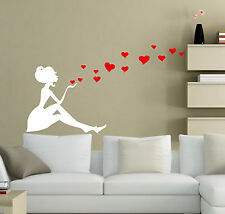 Girl with Hearts Art Vinyl Wall Sticker, Home Decor DIY Wall Decal- HIGH QUALITY