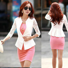 Lace Women's Slim Casual 1/2 Sleeve Blazer Suit Jacket OL Outerwear Coat Top New