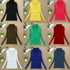 Womens Turtleneck Long-Sleeve Tee shirt Basic Shirt Solid Sweater Tops Pullover