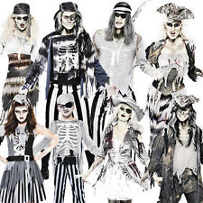 Ghost Pirate Halloween Mens Womens Kids Fancy Dress Party Adult Costume Outfit