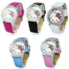 New Cute Hello Kitty Wristwatch Large Round Face Quartz Watch For Girls