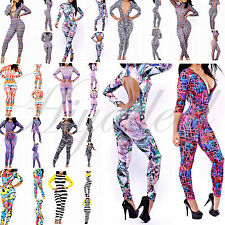 Womens Colorful Stripe Digital Printed Stretch Bodycon Zipper Rompers Jumpsuits