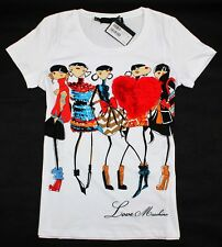2014 Love Moschino Women's Colourful Cartoon Chiffon Heart T-Shirt/Top 19129