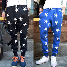 Men's Star Printing Hip Hop Sweat Pants Harem Dance Jogger Baggy Trousers Slack