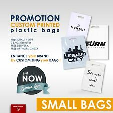 Custom Printed Carrier Bags with company logo & text -SMALL SIZE - Personalised