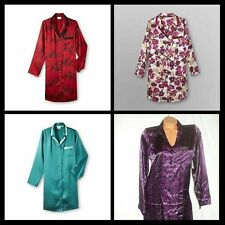 Jaclyn Smith Satin PJ Lounge Sleep Shirt Silky Gown Sexy Sleepwear Reg & Plus Sz