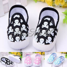 Non-slip Soft Sole Crib  Baby Boys Girls Toddler Skull Sneakers Shoes I