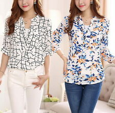 Casual Blouses + Halter Top Womens Floral Geometric Printed 3/4 Sleeve T-shirts