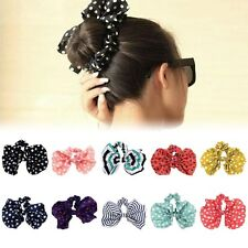 Women Scrunchie Ponytail Holder Satin Ribbon Bow Hair Band Hair Rope 10 Colors