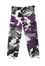 Kids Boys Ultra Violet Purple Camo Military Style BDU Airsoft Pants Fatigues